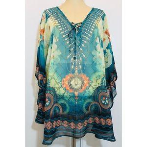 New! Multiple Missy Gothic Glam Sheer Kimono XL